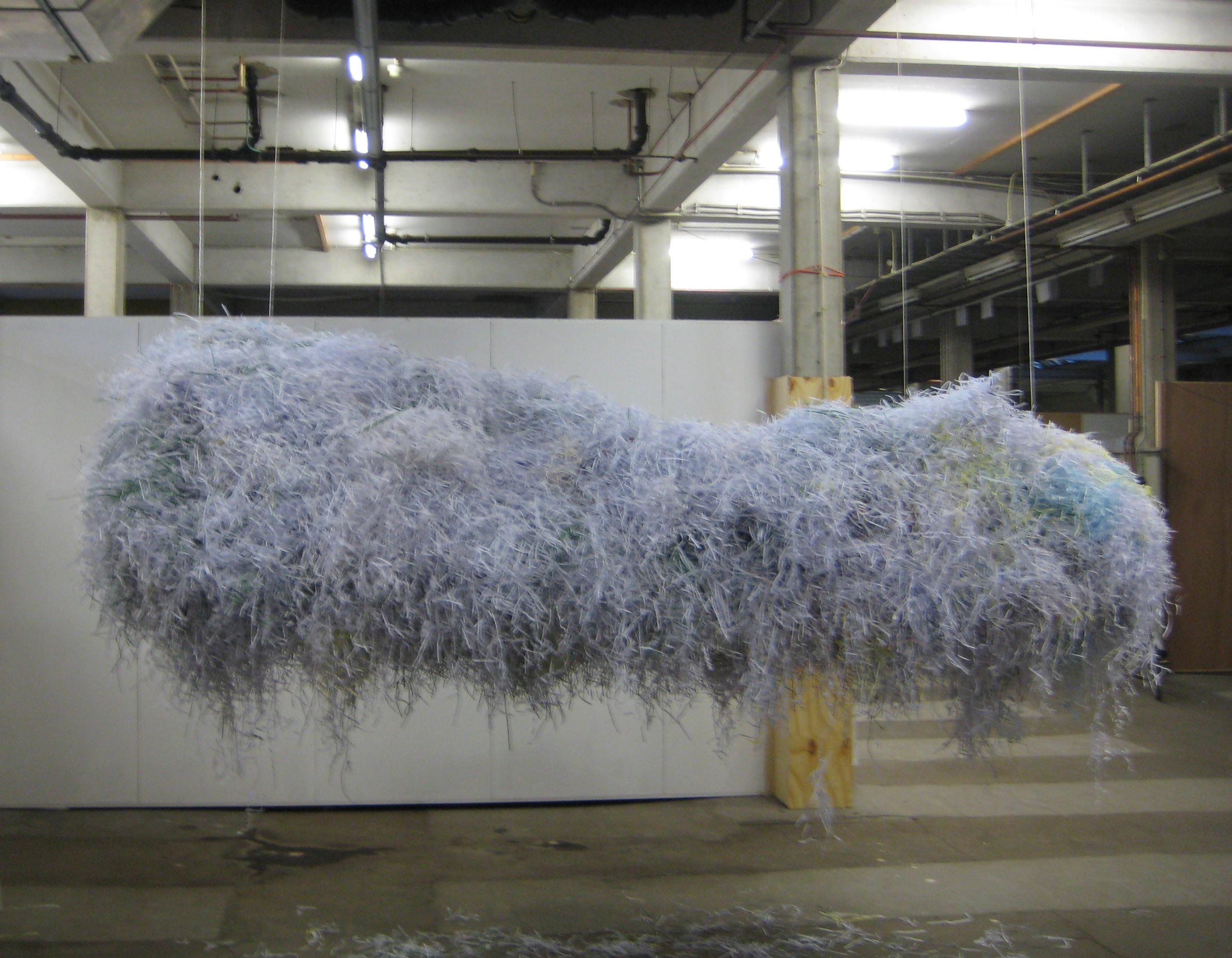 Groningen, Loods zz7, Wolk, 2010, papierstroken, frame