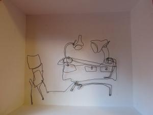 Delfzijl, etalagekunst, 2014, kijkdoos interieur draadfiguur