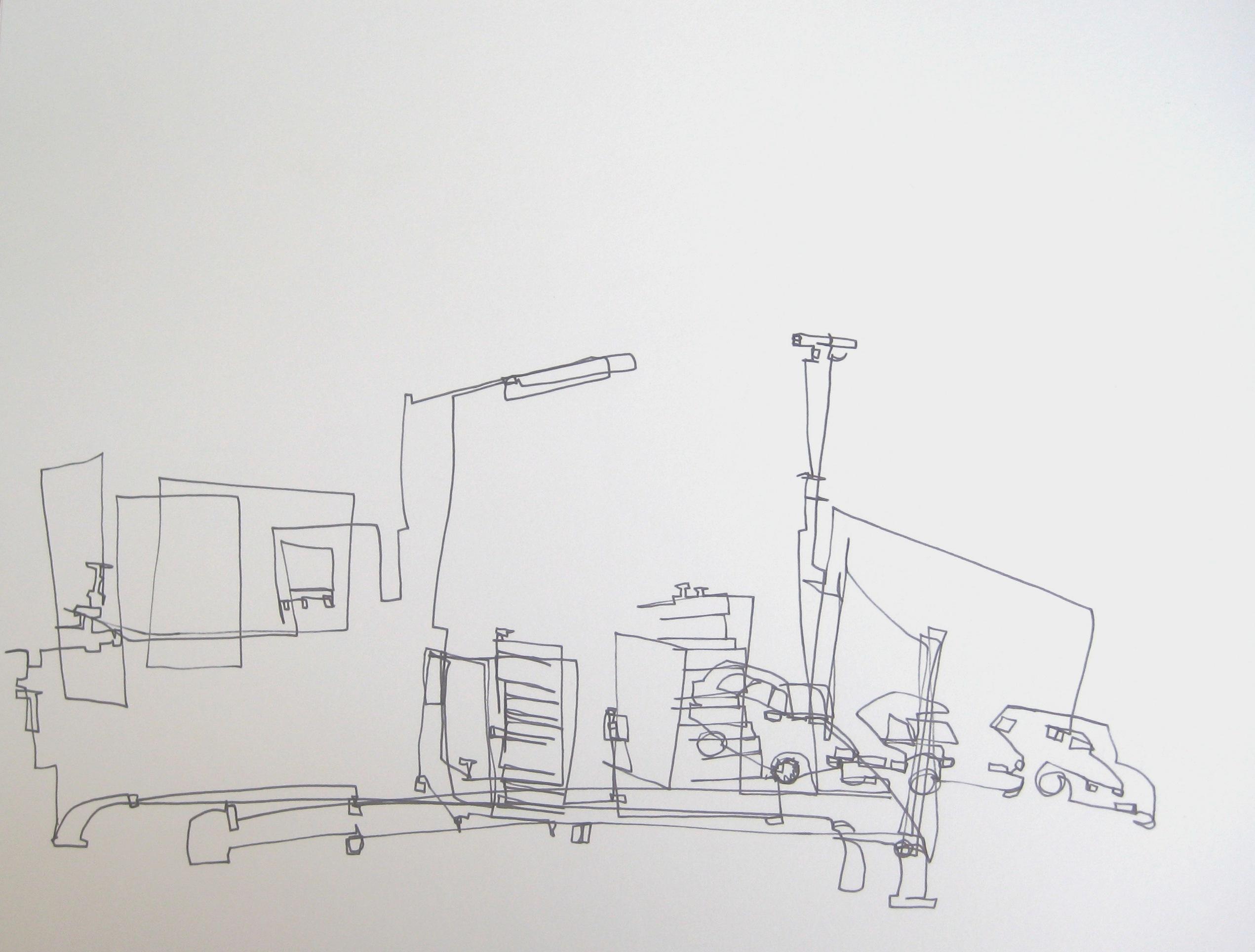 industrieterrein, 2012 1lijntekening, fineliner