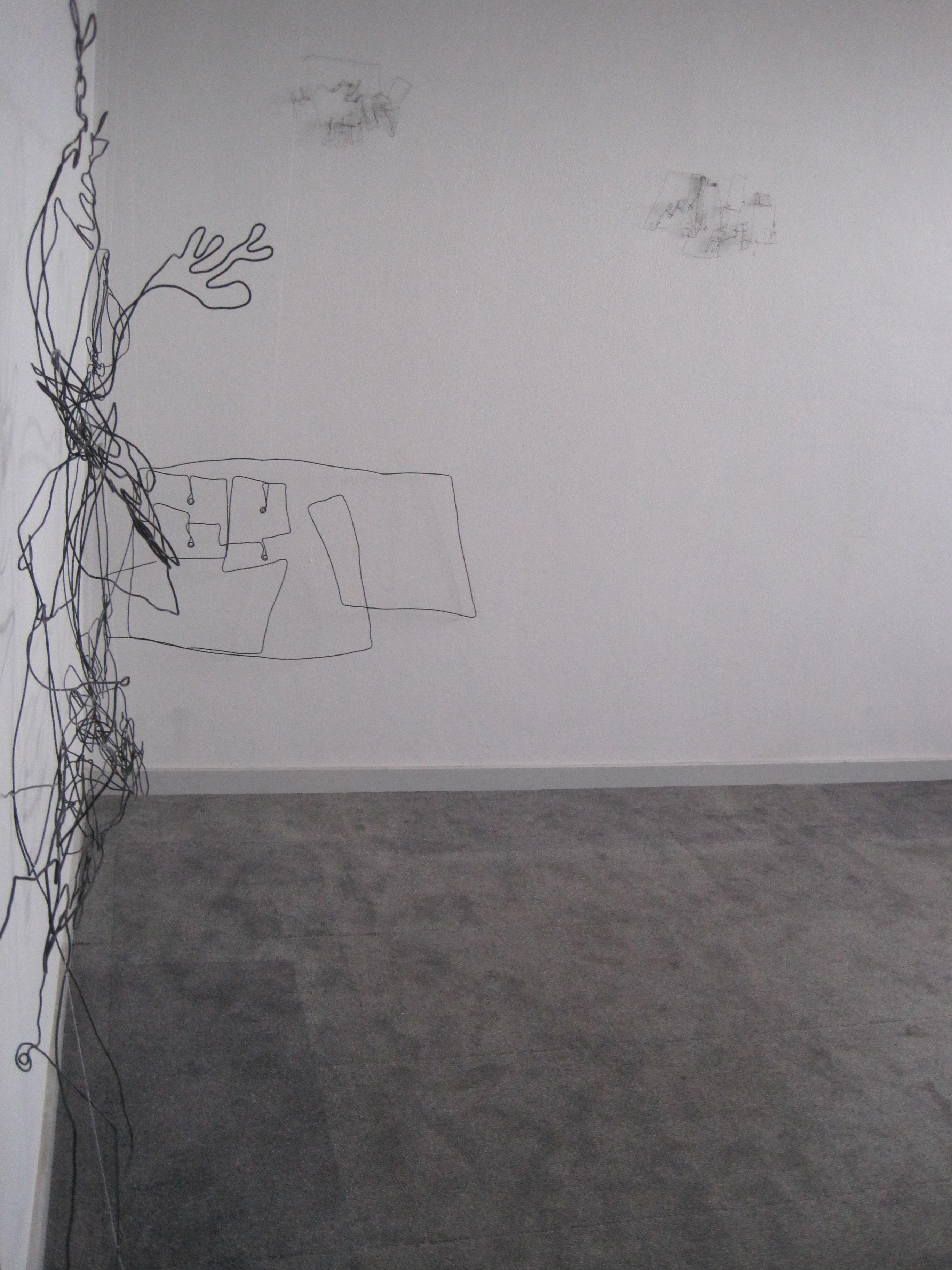 2013, draadtekening zijaanzicht , 400x150x 30 cm, Delfzijl