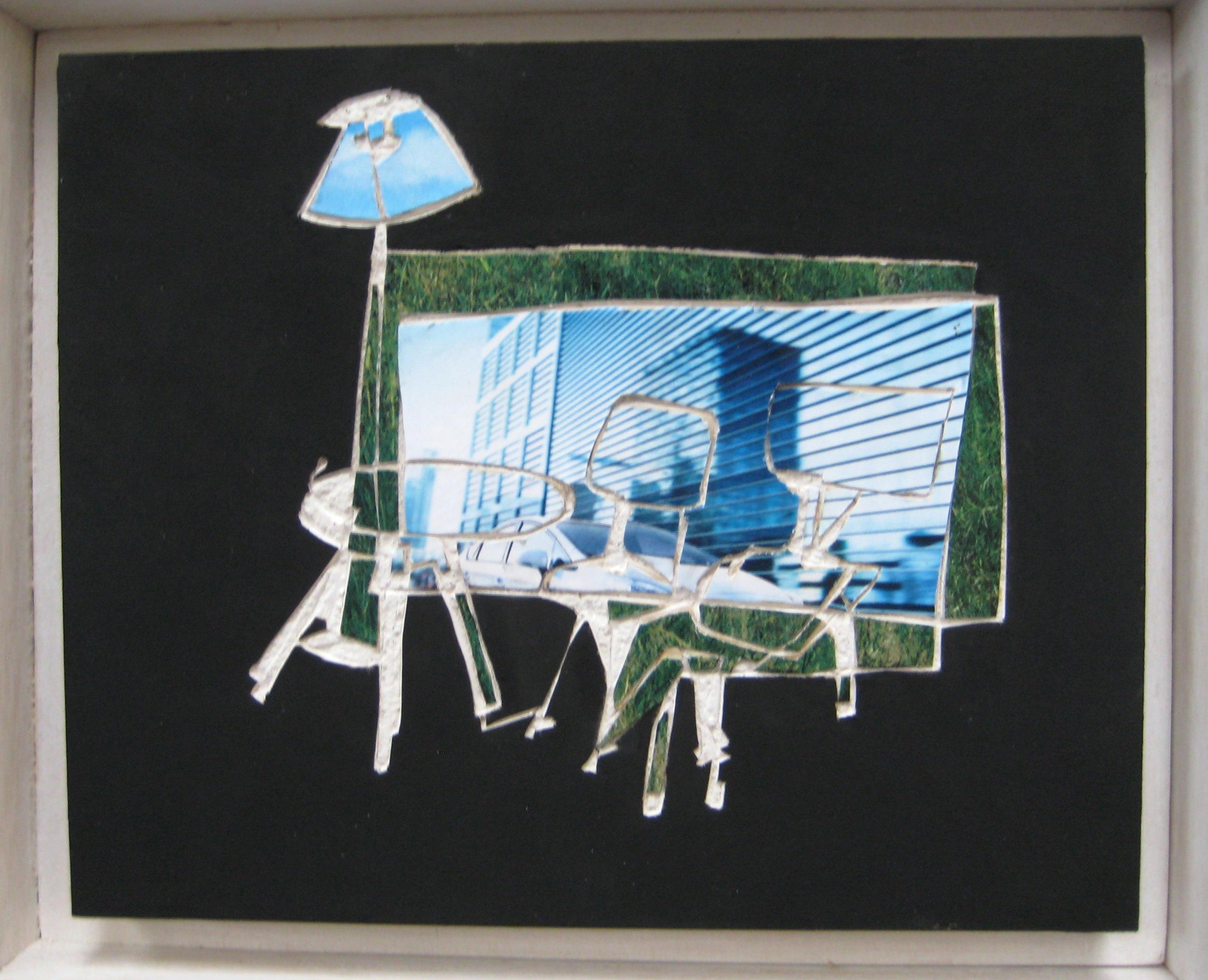 Huiskamertje, 2010, gipsplaatcollage 20x14 cm