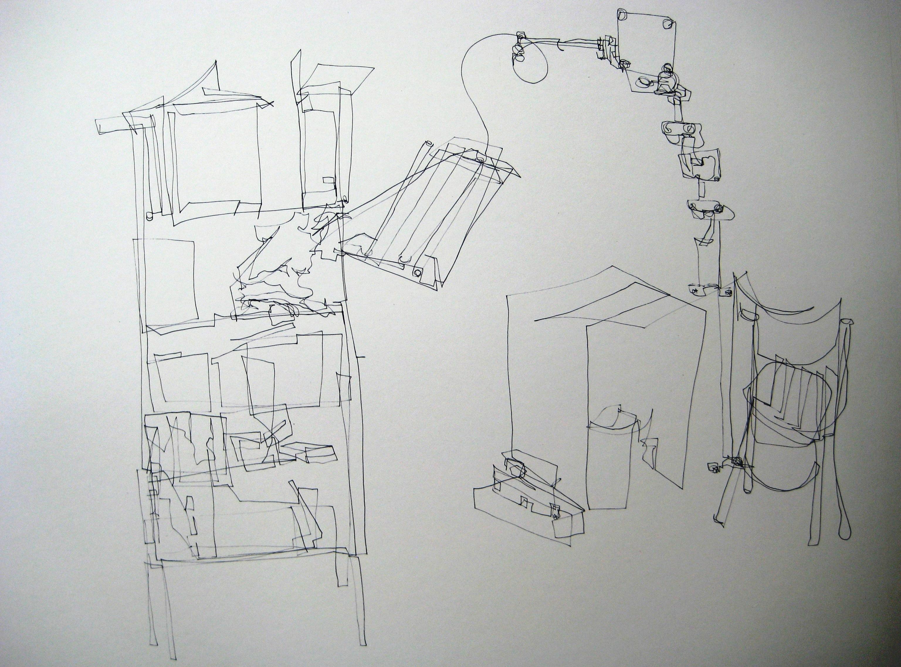 Interieur 1, 2010, 1lijntekening, fineliner