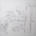 Interieur atelier 2, 2010, lijntekening, fineliner